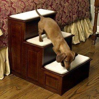 Pasos para perros de tres pasos de madera Herzhers - Acabado en cerezo cálido