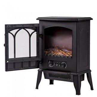 NUEVO Negro, 750W / 1500W de pie Chimenea eléctrica Estufa de calor Estufa de llama Ahorro de energía portátil FP22
