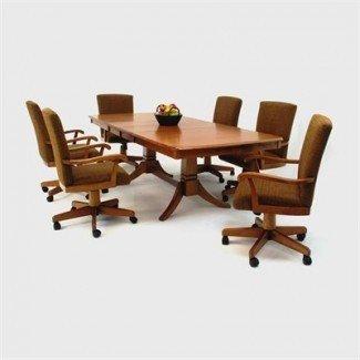 Mesa de comedor: juego de mesa de comedor Sillas con ruedas