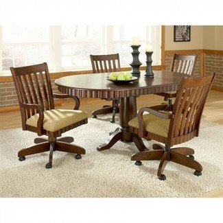 Chesterfield Dinette Set ~ Rnd Table Swivel Padded Chairs w ...