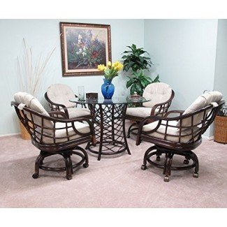 Hecho en EE. UU. Rattan Dining Caster Chair Mesa Gaming Furniture Newton 5PC Set Cappuccino Finish