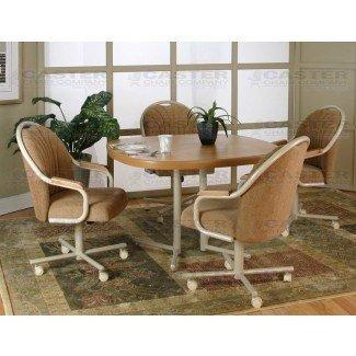 Caster Chair Company Juego de comedor de 5 piezas con ruedas giratorio