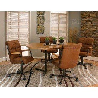 Caster Chair Company Juego de comedor de 5 piezas con ruedas giratorias