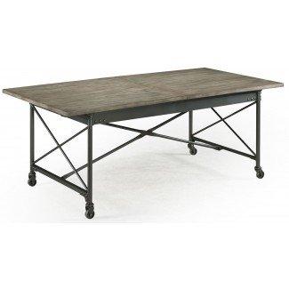 Mesa de comedor rectangular Walton con ruedas de ...