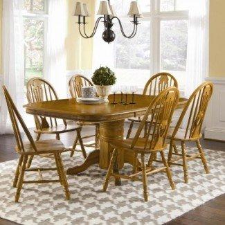 Brooks Furniture Traditional 1724272-0618M Mesa de pedestal redonda cuadrada superior laminada con 2 hojas y 6 sillas laterales tipo cariño, medio, acabado en roble