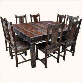 Juego de mesa y silla de comedor cuadrado grande de madera maciza para