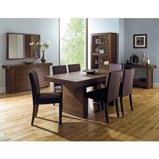 Akita Walnut 6 Seater Panel Dining Table & 6 Square