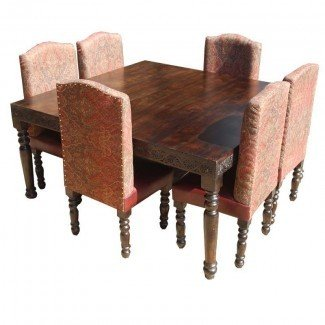Rustic Square Nottingham Transitional Leather Dining Table ...