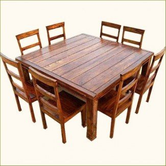 Mesa y silla de madera cuadrada rústica de 9 piezas Appalachian