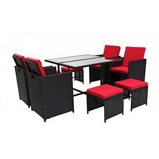 Juego de comedor moderno de 8 piezas para muebles de exterior que ahorra espacio, juego de mesa y sillas de ratán para patio