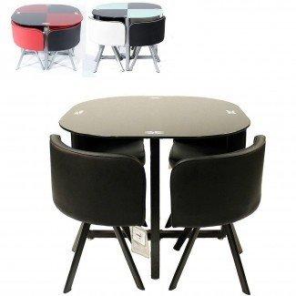 Mesa y sillas de comedor que ahorran espacio en el comedor