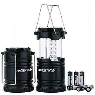 Camping Lantern Portable Outdoor Tent Lamp, Equipo de equipo de campamento para senderismo, emergencias, tormentas - Paquete de 2, negro