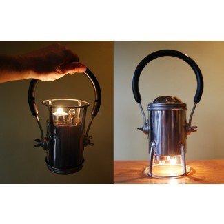 Vintage Conger Chrome Miners Lantern 9V con pilas