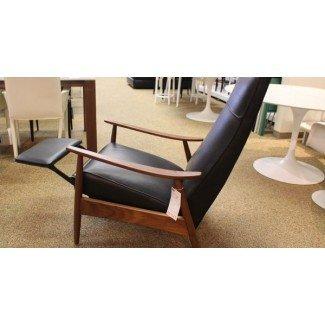 Sillón reclinable Milo Baughman 74 en cuero negro DWR moderno ...