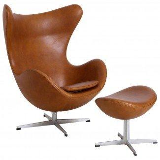 """Silla """"Egg"""" de Arne Jacobsen con otomana"""