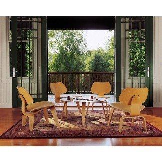 Eames Sillón de madera contrachapada moldeada Base de madera - Hogar moderno