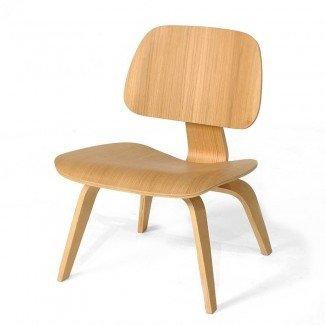 Ash Wood - Sillón de madera contrachapada moldeada estilo Eames Mid