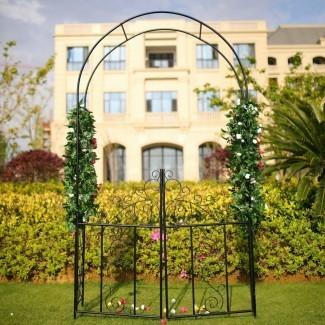 Pórtico de acero arqueado con puerta para jardín