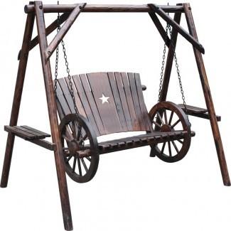 Columpio de porche con ruedas de vagón Char-Log con soporte
