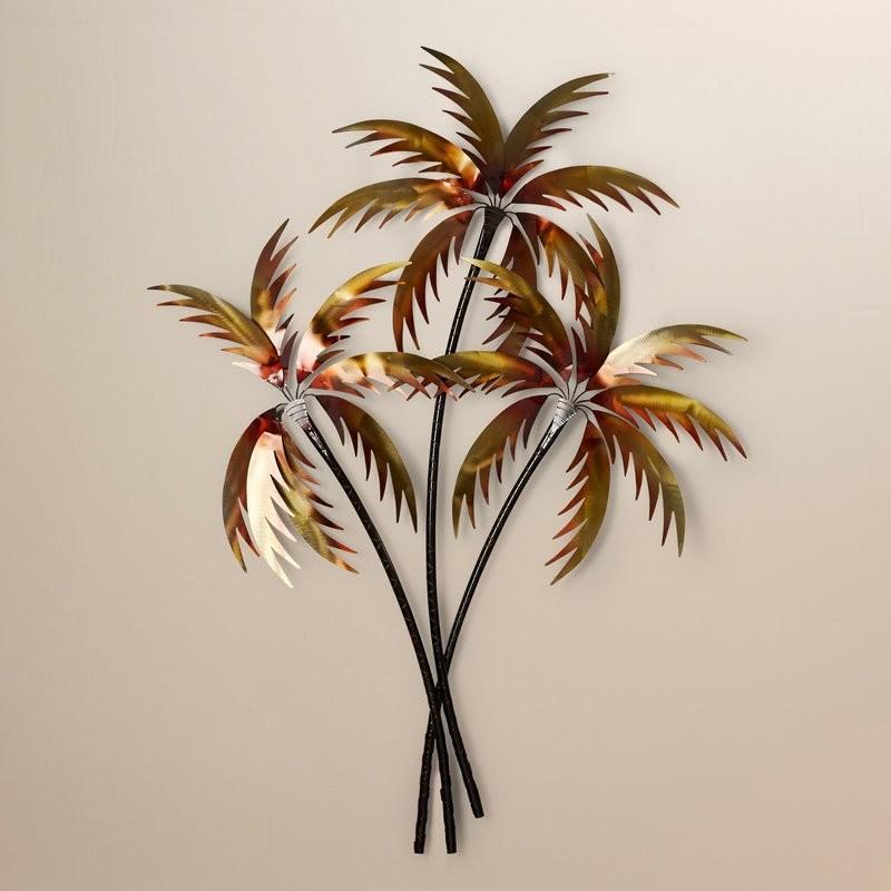 Decoración de pared de 3 palmeras de cobre