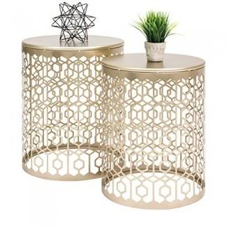 Mesas de acento anidadas redondas de Best Choice Products, mesas de noche decorativas con detalles geométricos, laterales , Mesas finales - Juego de 2 - Oro