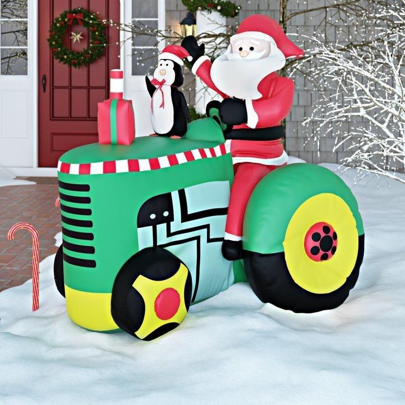 Decoración de Navidad inflable de Santa en tractor
