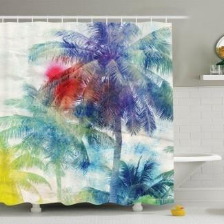 Conjunto de cortinas de ducha de acuarela tropical de palmeras de palmeras en la imagen Conjunto de cortina de ducha de paraíso tropical