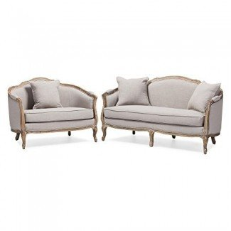 Baxton Studio Chantal Sofa and Loveseat Living room Set [19659013] Un conjunto de muebles de sala de dos piezas que consta de un sofá más grande y un sofá de dos plazas más pequeño. Ambas piezas están hechas de marco de madera de nogal con una capa desgastada de pintura blanca y tapicería blanca hecha de algodón. </div> </p></div> <div class=