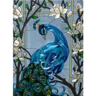 Magnífico panel de vidriera de pavo real 17x37