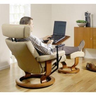 Ekornes mesa de computadora portátil sin estrés para silla reclinable de nogal