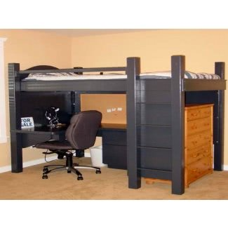 Cama alta tamaño loft con escritorio debajo