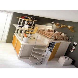 Cama alta de tamaño completo con escritorio 1
