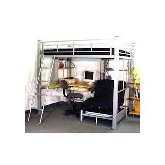 Cama alta con escritorio debajo de 4
