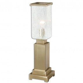 """Lámpara de mesa Vinchio Crackled Glass Hurricane 22 """"H con pantalla rectangular"""