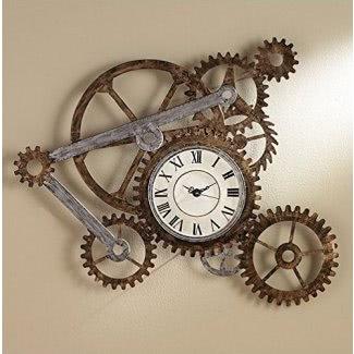Reloj de pared con números romanos hecho con engranajes y piñones. Este arte pintado a mano es funcional y decorativo. Los novedosos relojes de pared son un gran regalo para la inauguración de la casa.