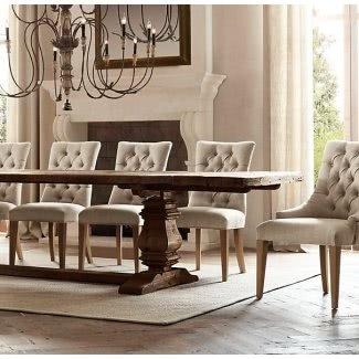 Mesa de comedor de pedestal rectangular