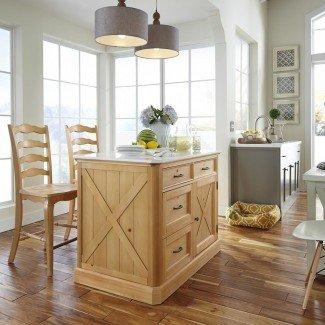 Estilos para el hogar Country Lodge Isla de cocina de pino con cuarzo ...