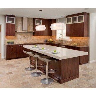 Diseño de cocina contemporánea con cocina funcional marrón ...