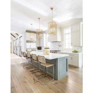 Isla de cocina gris con taburetes de bar vintage - Transitional ...