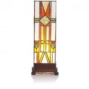 """Lámpara de mesa estilo vitral Mission Style Hurricane 14 """"H con pantalla rectangular"""