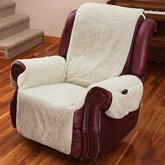 Funda para silla reclinable de una pieza con reposabrazos y bolsillos: talla única