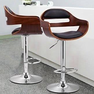 Taburete de bar de metal y madera con asiento ajustable giratorio Joveco