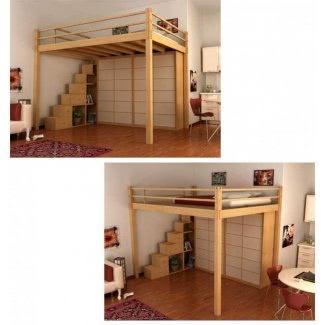 Cama alta de tamaño completo con escritorio debajo