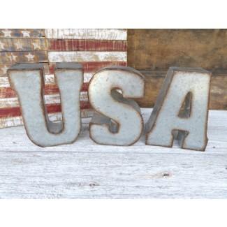 USA 7 letras galvanizadas firman decoración de la pared Cuelgue en la pared