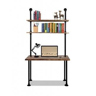 Articial 79- pulgada industrial portátil escritorio sólido Escritorio de computadora de madera Escritorio de tubería de pared con estantes Mesa de computadora para oficina doméstica