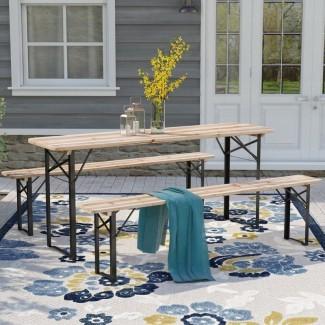Mesa de picnic plegable de madera maciza Baumgarten