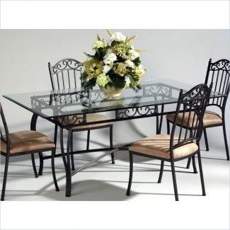 Mesas de comedor de hierro forjado con tapas de vidrio