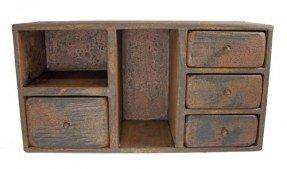 Gabinete de madera envejecida de cuatro cajones País rústico primitivo