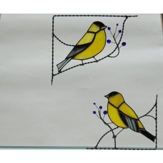 Esquina de vitral de pájaro Pinzón