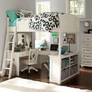 Cama doble alta con escritorio